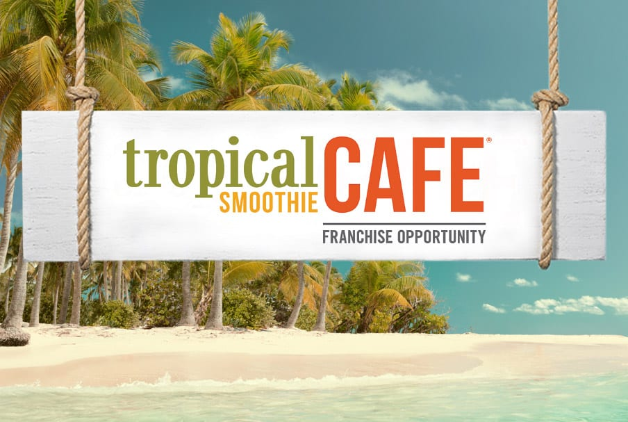 Tropical Smoothie Cafe logo on a tropical beach