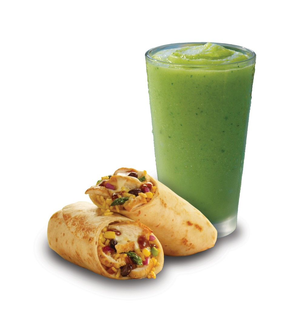 Jamaican Jerk wrap and Green smoothie