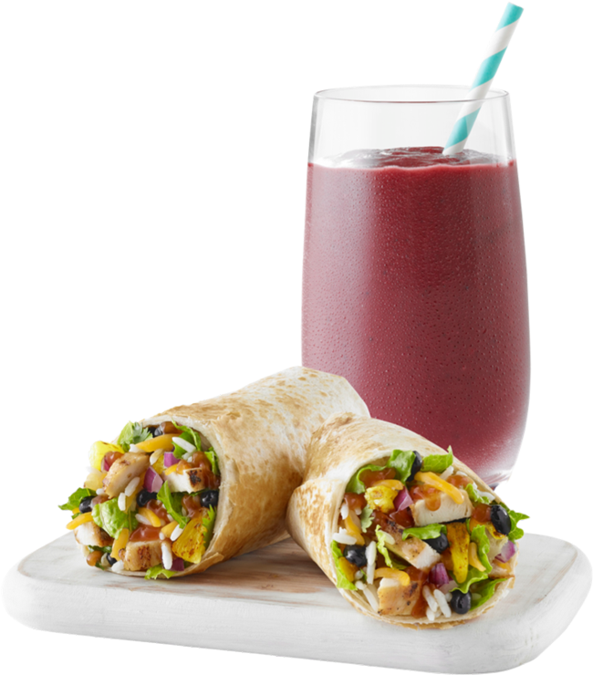 Fruit smoothie and healthy wrap