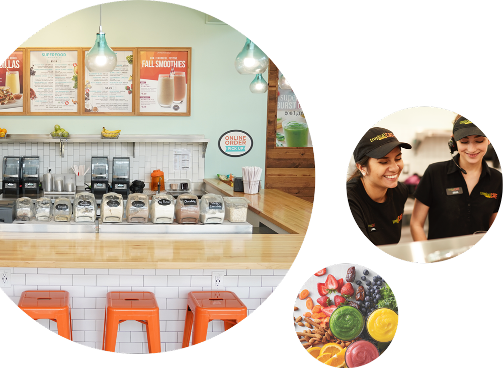 Interior of Tropical Smoothie Cafe and happy employees