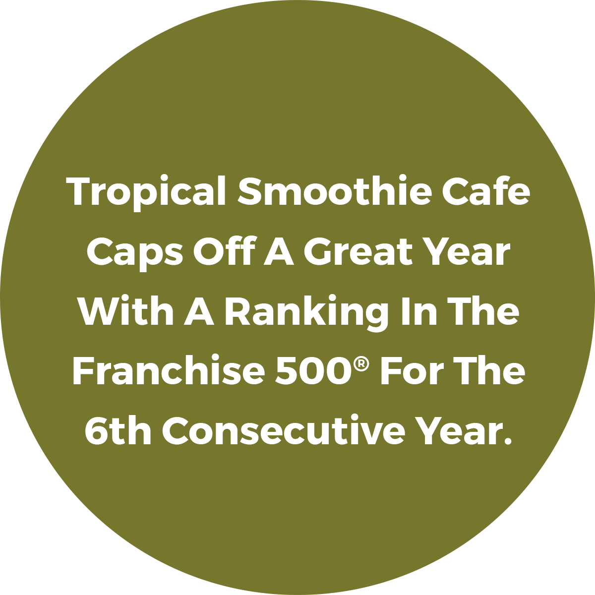 Tropical Smoothie Cafe Caps Off A Great Year With A Ranking In the Franchise 500 For the 6th Consecutive Year