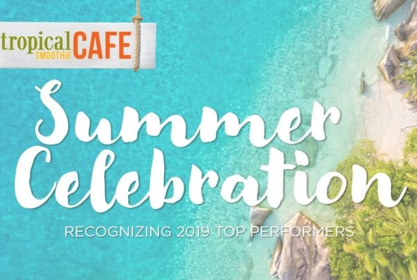 Arial shot of beach with Tropical Smoothie Cafe logo and Summer Celebration - Recognizing 2019 Award Winners