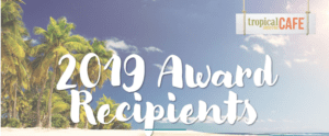 Beach with palm trees with Tropical Smoothie Cafe logo and 2019 Award Recipients