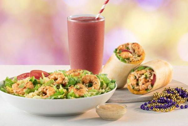 tropical smoothie cafe smoothie, salad, and shrimp wrap