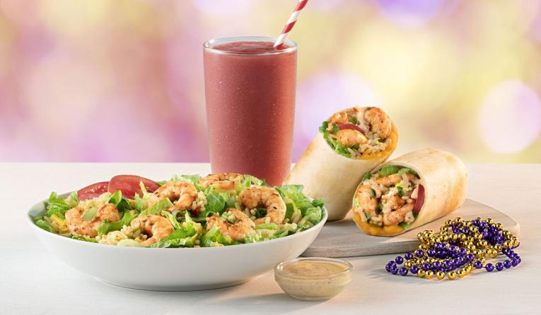 tropical smoothie cafe smoothie, salad, and shrimp wrap