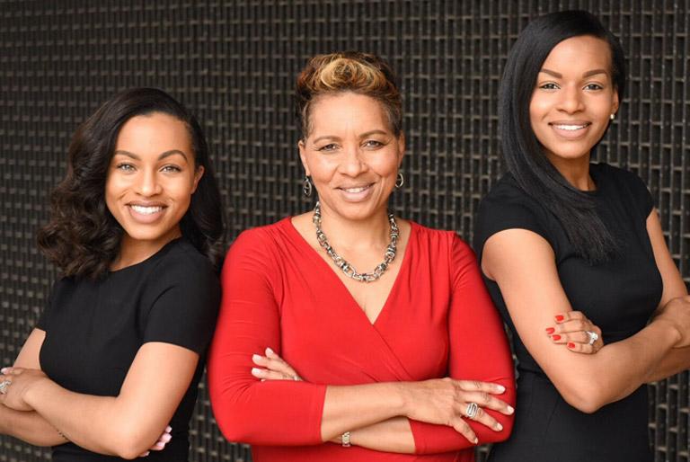 Toya Evans with daughters Lauren and Chanel